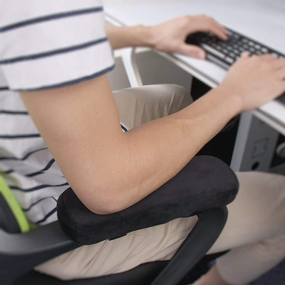 Silla de oficina Almohada de descanso para brazo, cojín de reposabrazos Fushop, almohadillas de reposabrazos de espuma viscoelástica universales, ...