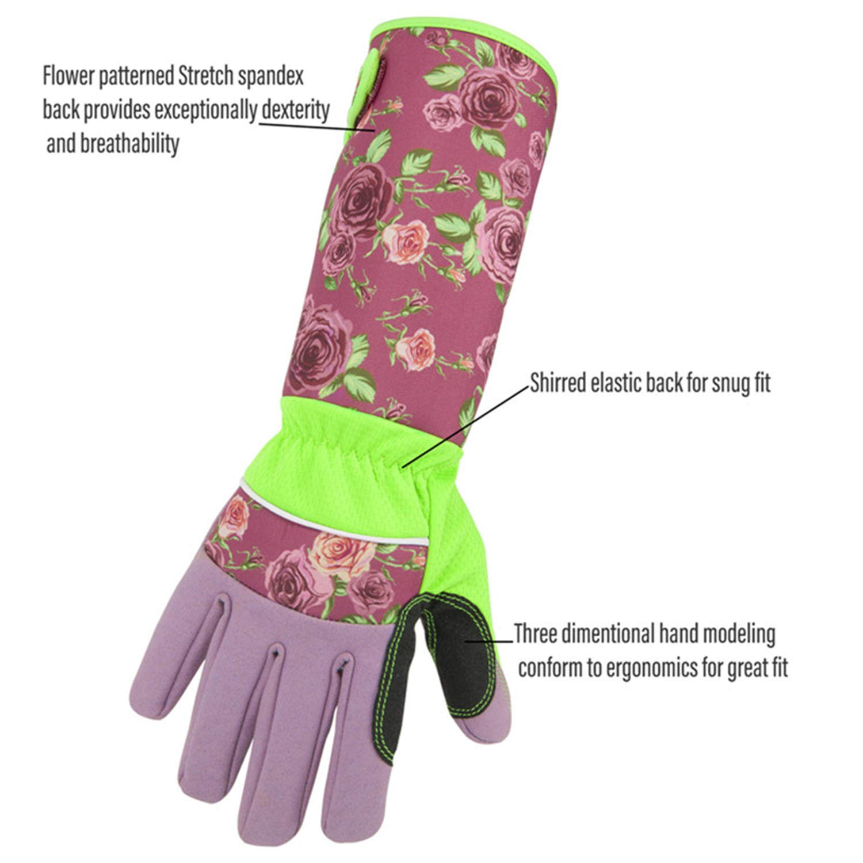 Rosado Gshy Guantes de cuero sint/ético para jardiner/ía para mujeres Guantes anti-espinas Guantes de trabajo Pu/ños con estampado floral antidesgaste