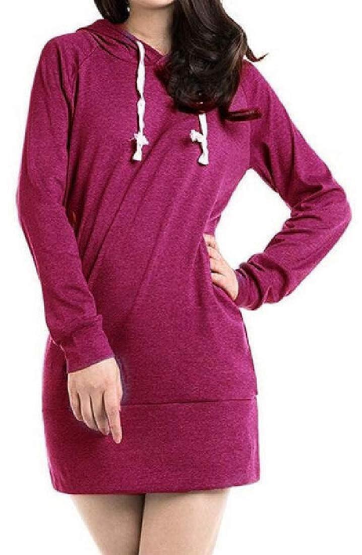 CRYYU Women Sweatshirt Slim Pure Color Mid Length Pullover Hooded Hoodies Sweatshirt
