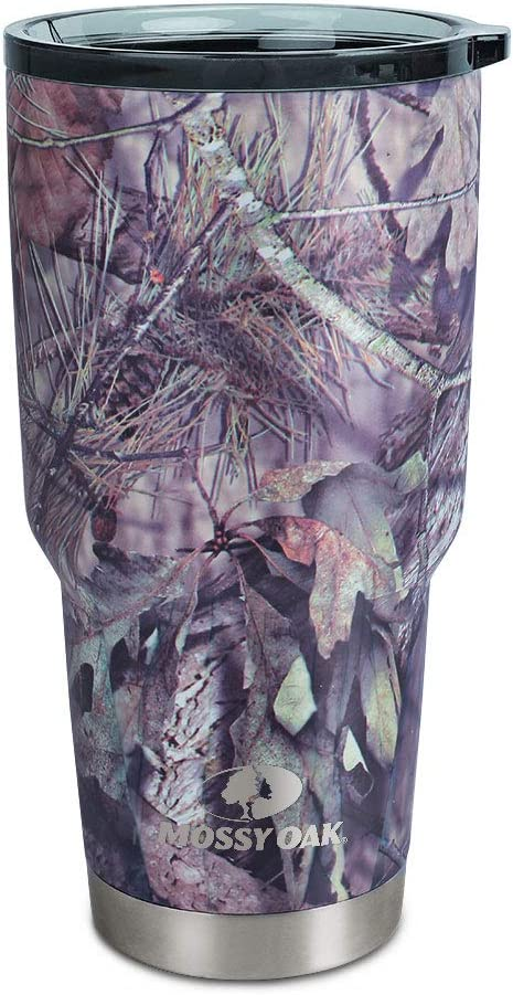MOSSY OAK Stainless Steel Camo Tumbler - 30 Oz Double Wall Vacuum Insulated Coffee Cup - Travel Mug for Cold & Hot Drinks