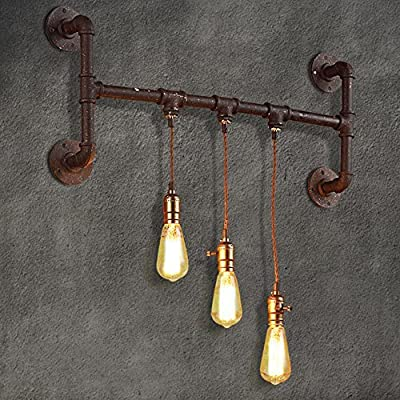 CGJDZMD Wall Sconce Vintage Industrial Edison E27 3 Light Vintage Water Pipe Wall Lamp Light for Living room, Dining room, Bedroom Decorated Wall Lamp