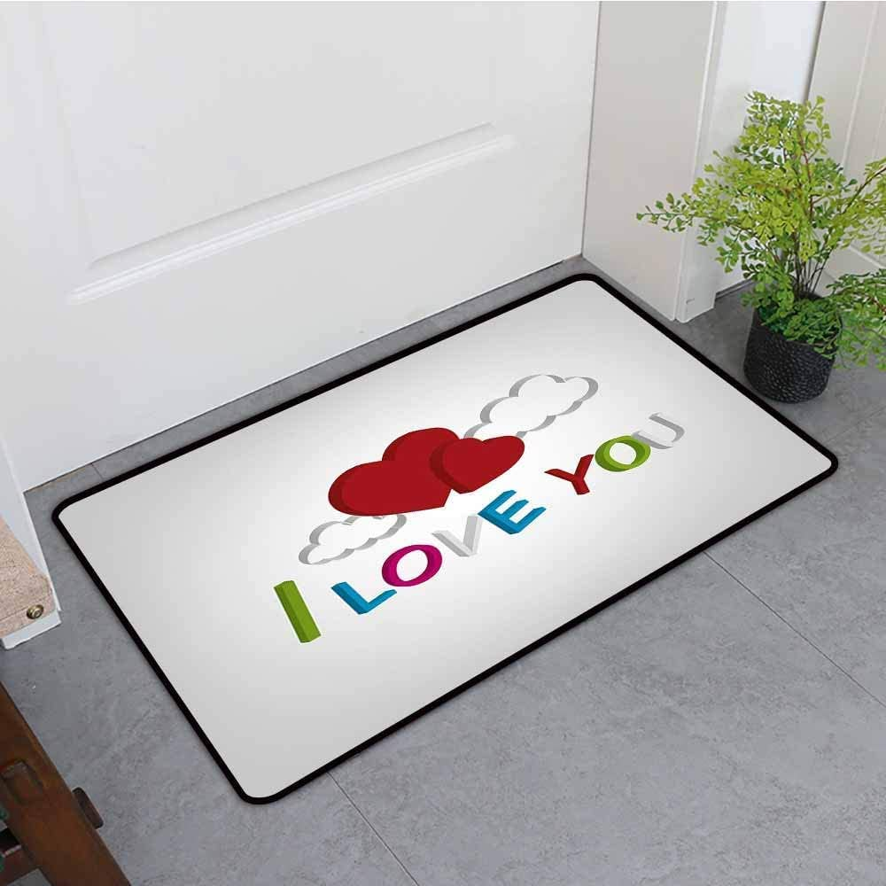 Anti-Slip Zerbino Zerbino Lavabile Ti Amo 3D Letters Nuvole e Cuori Valentines Message Happy Feeling Kinhevao Dog Doormat Lime Green Blue Magenta RU Bath Mat