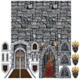 Medeival Castle Background Decorations | Castle Drawbridge, Torch Light Hallway, Stained Glass Windows, Arrow Slits and Stone Wall Backdrop