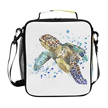 e779810eb2 Watercolor Sea Turtle Insulated Lunch Bag, Reusable Durable Portable  Thermal Lunch Food Tote Box Cooler