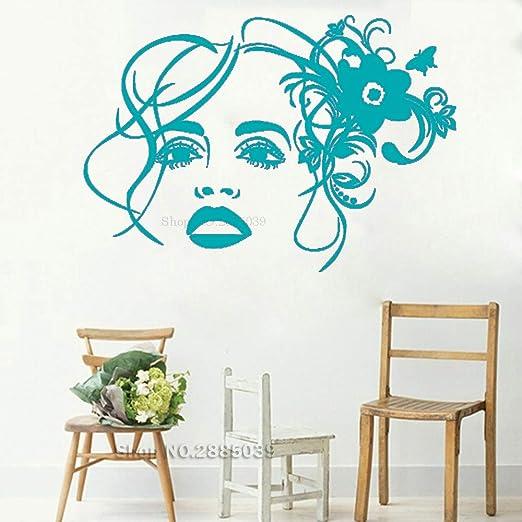 guijiumai Girl Face Flower Vinyl Wall Decal Sticker Beauty ...