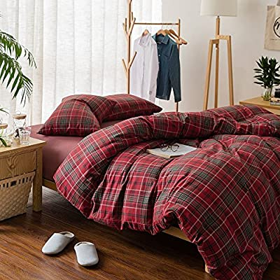 Plaid Flannel Bedding Duvet Cover Set Queen King - Luxury 3 Piece Blue Grid Duvet Cover Full Cotton -Lightweight Soft