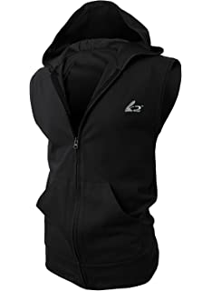 436aba63cdb515 BigRabbit® PAIZH Men s Sleeveless Workout Hoodie Zip-up Vests Gym  Bodybuilding Lifting Tank Tops