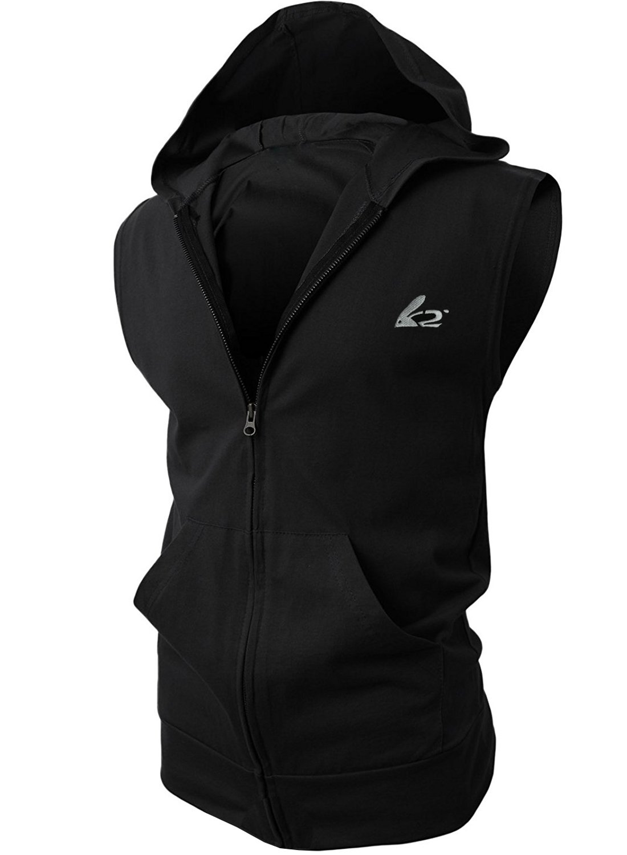 Men's Sleeveless Workout Hoodie Zip-up Vests Gym Bodybuilding Lifting Tank Tops (M,Black) by BigRabbit®