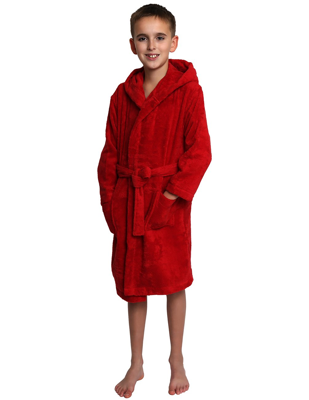 TowelSelections Big Girls Robe, Kids Hooded Cotton Terry Bathrobe Cover-up Size 10 Red