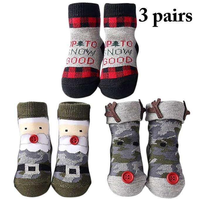 Zoylink 3 Pares Calcetines De Navidad Para Niños Pequeños Calcetines De Algodón Santa Elk Para Bebé