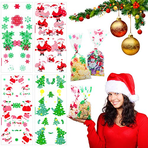 (Christmas Cellophane Bags 200Pcs with Twist Ties Holiday Favor Treat Gift Goodie Cello Bags for Party Supplies Candy Cookies, Christmas Tree Snow Flake Santa Snowman Gift Box Design (11