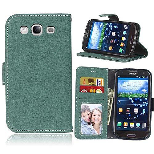 YHUISEN Cubierta protectora de la caja del folio de la caja de la carpeta de la PU de la PU del cuero sólido del estilo retro con la ranura para tarjeta / soporte para la galaxia S3 I9300 de Samsung ( Green