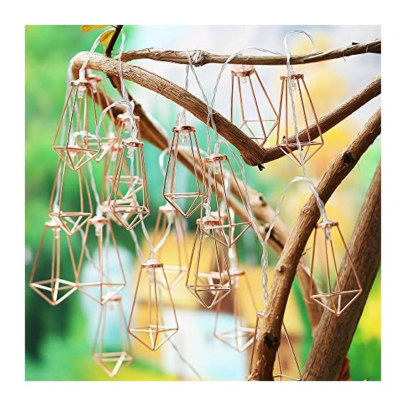 Omika 20 LED Rose Gold Geometric Fairy Lights - USB & Battery Powered, Boho Metal Cage Bedroom String Lights for Wedding Decorations Party Indoor Patio Camping Wall Decor, 10 Ft/3m - Innovative design Metal Geometric LED Lantern fairy light, made with high quality metal material. Available in sizes 300cm (10ft), 15cm length between 2 bulbs, and 15cm leading circuit, smart and classy rose gold colour. Create a romantic environment with attractive display, very light weight, easy to hang, use less electricity, 100% satisfaction guarantee. - patio, outdoor-lights, outdoor-decor - 61Sawi%2BhU3L. SS570  -