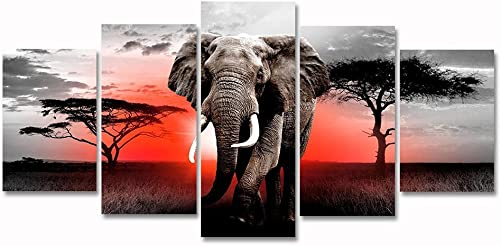 Modern African Grassland Elephant Black and White Animal Painting Artwork Landscape Picture Canvas Wall Art 5 Panel Framed