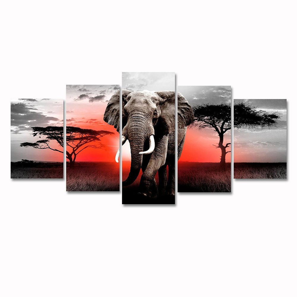 Modern african grassland elephant black and white animal painting artwork landscape picture canvas wall art 5 panel framed for living room home decoration