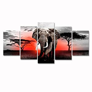 Modern African Grassland Elephant Canvas Wall Art Black and White 5 Panel Animal Painting Artwork Landscape Picture Framed for Living Room Home Decor