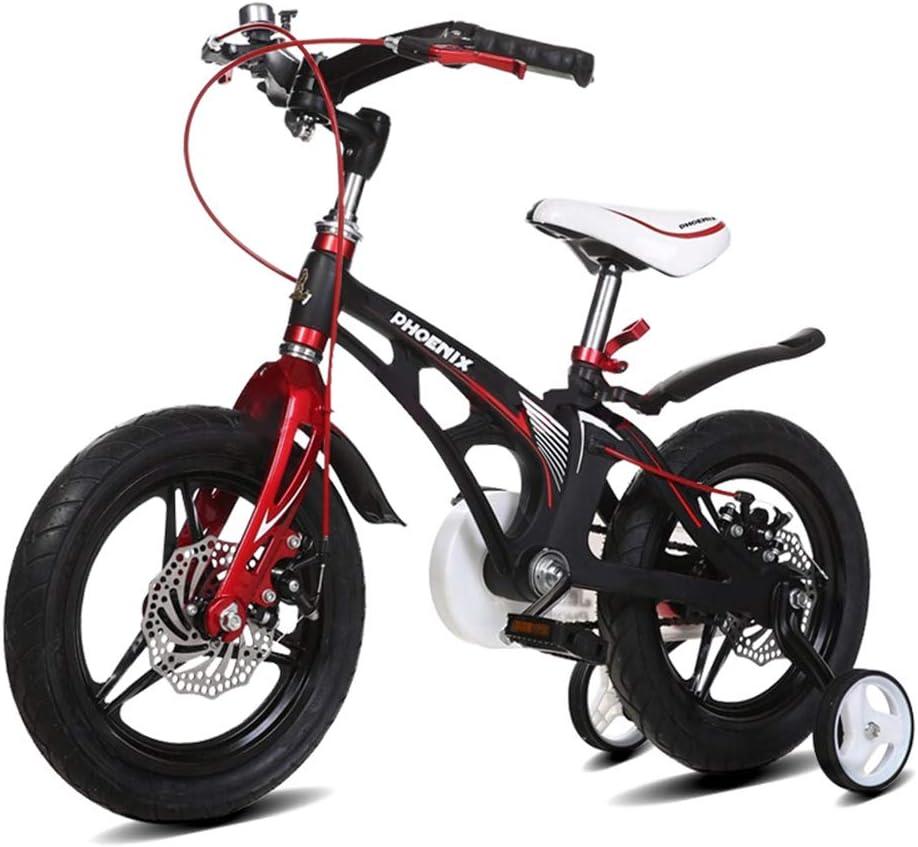 XiangYu Bicicleta para Niños, Material de Aleación de Magnesio, Sistema de Freno de Disco Doble, Manillar y Silla de Montar Ajustables + Rueda Auxiliar Antideslizante Black-12inch: Amazon.es: Deportes y aire libre
