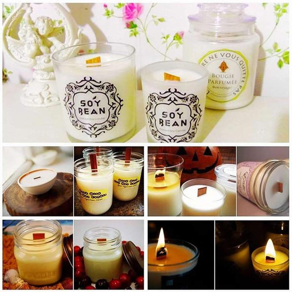 Home Decoration Craft,Candle Wood Wick with Sustainer Tab Candle Making Supply 10Pcs by Tebatu (Image #4)