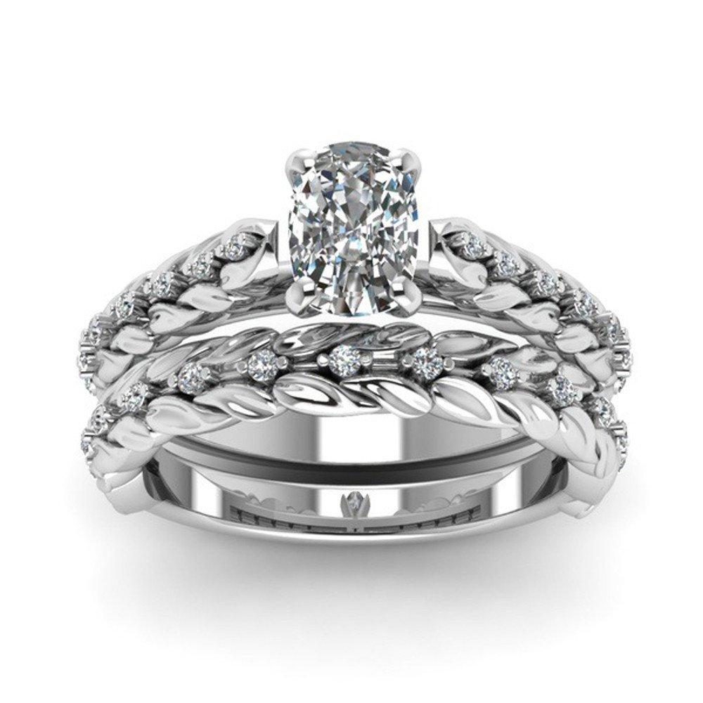 Vintage Rings ODGear 2-in-1 Girls White Diamond Silver Engagement Wedding Band Ring Set