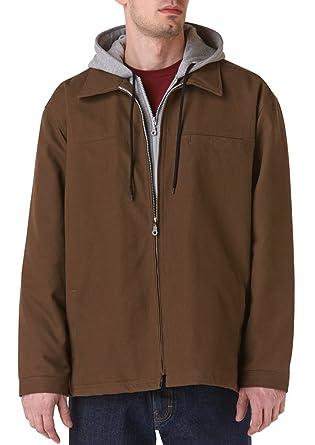 Teflón Hombres de pato chaqueta con forro polar con capucha Insertar, XL, marrón,