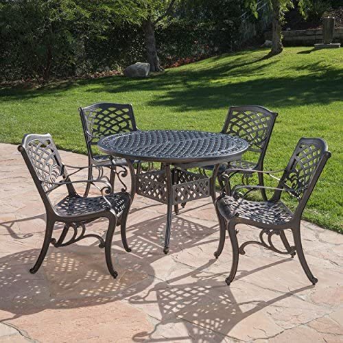Sakura Outdoor 5 Piece Shiny Copper Finished Aluminum Dining Set with Expandable Dining Table