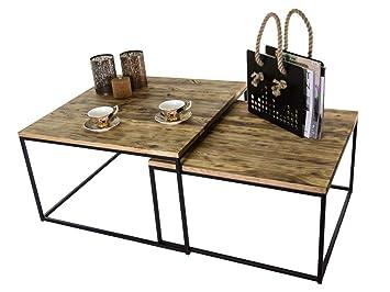 meilleur pas cher 9485a dc3c1 Table basse avec plateau en bois FLAT lot de 2 nature HxlxP ...