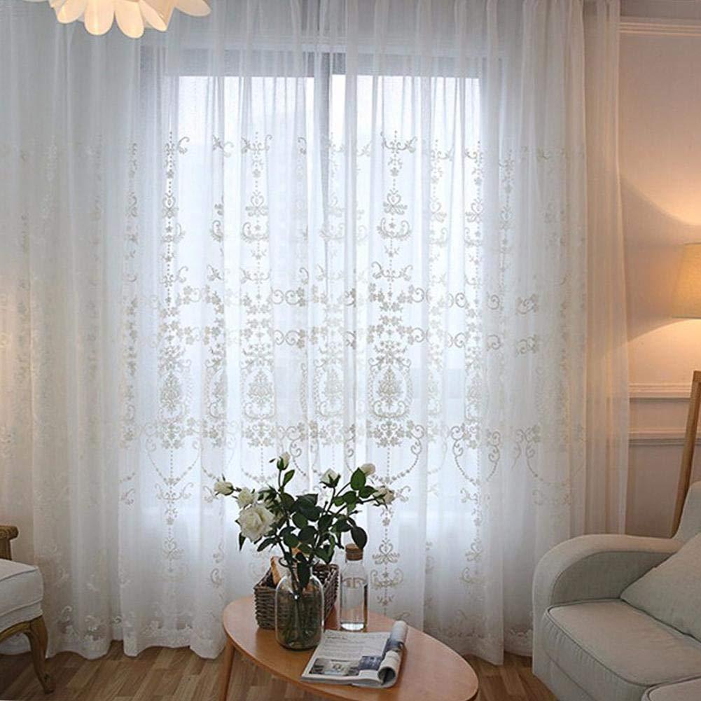 Pantalla Bordada De La Ventana Estilo Europeo Bordado De Algod/ón Transl/úcido para La Sala De Estar Miju Cortinas Transparentes Blancas Blanco Advantage Dormitorio