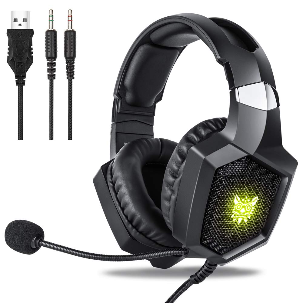 Gaming Headset Xbox One, Fuleadture RGB PS4 Gaming Headset with Mic, Noise Cancelling Over Ear Headphones with Stereo Surround Sound, LED Light, Soft Memory Earmuffs for PC Laptop Switch Game by Fuleadture