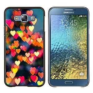 KLONGSHOP // Cubierta de piel con cierre a presión Shell trasero duro de goma Protección Caso - luces amarilla roja de la ciudad la noche del amor del corazón - Samsung Galaxy E7 E700 //