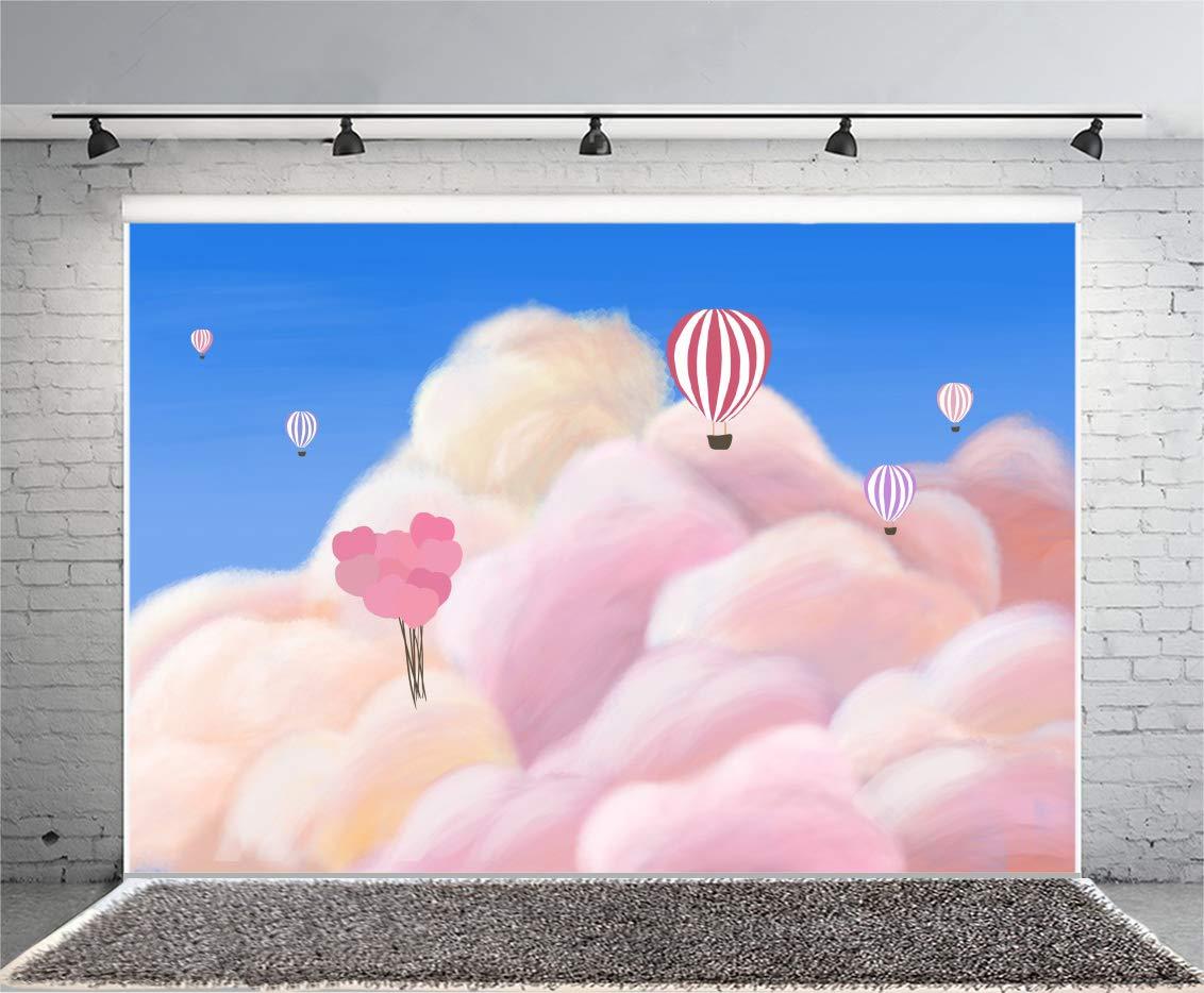 Leyiyi 10x8フィート 子供 誕生日 写真 背景幕 初回のB日 空の雲 背景 洗礼 ベビーシャワー 綿毛 熱気球 水彩 風船 コットン キャンディ パジャマ 写真 ポートレート ビニール スタジオ 小道具   B07GS1LJQS