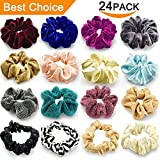 24 Pcs Large Scrunchies for Hair Elastic Hair Bands, Premium Scrunchy Hair Ties with Velvet, Silk , Neon, Cotton, Satin, Chiffon, Scrunchie Ponytail Holder No hurt, Soft for Women or Girls Hair Access