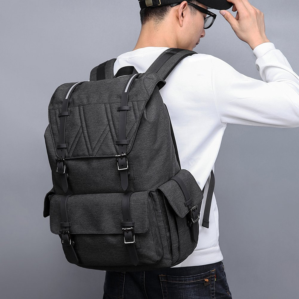 Vintage Backpack Laptop 15.6 Anti-theft Daypack Rucksack for Travel, Hiking Backpack Men Women Camping Waterproof Casual Schoolbags for College, Black