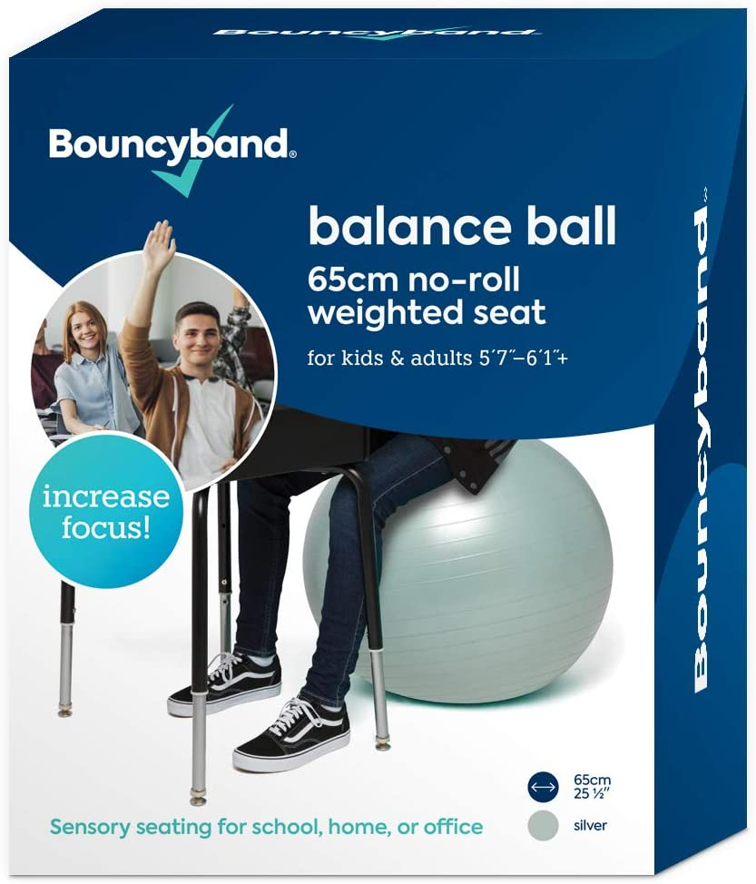 Balance Ball - No-Roll Weighted Seat is a Flexible Chair for School, Office or Home(Large, Silver)