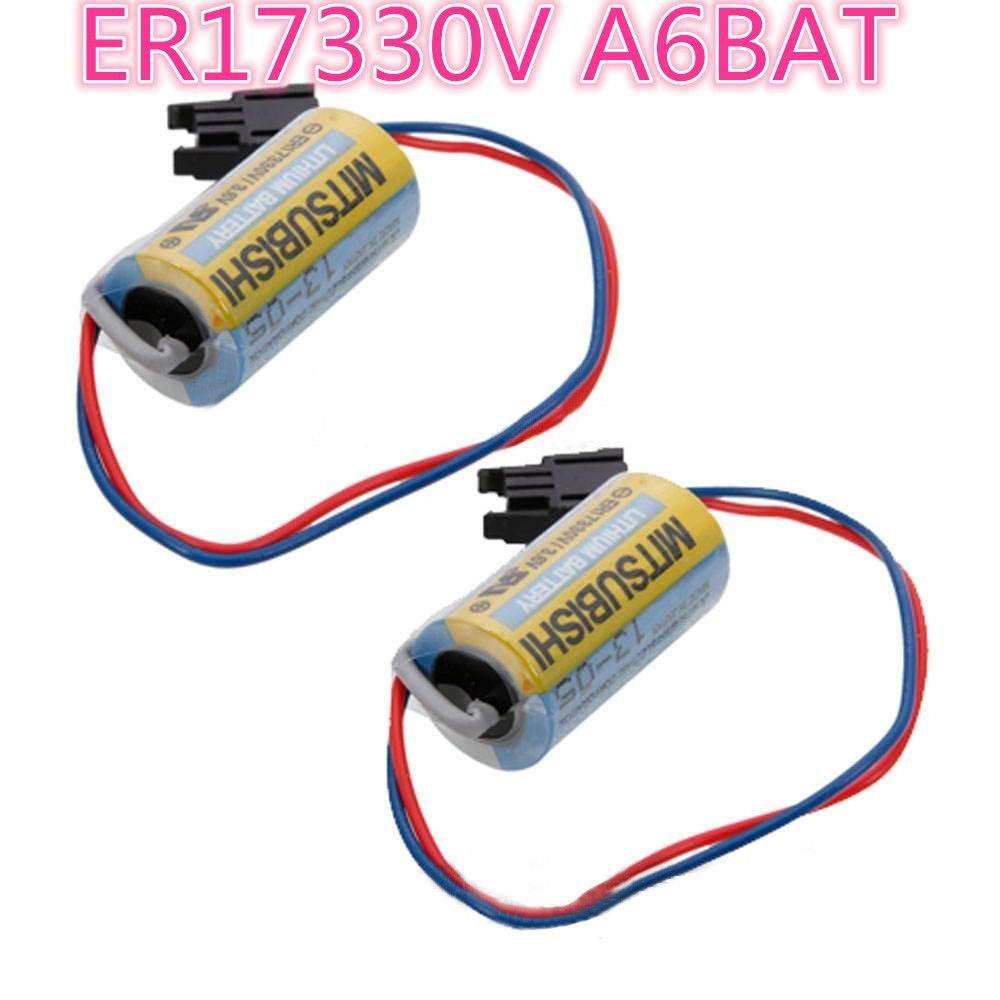 A6BAT PLC Lithium Battery 2/3A 3.6V 1700mAh with Plug US For Mitsubishi Servo A6BAT ER17330V - 10-Pack
