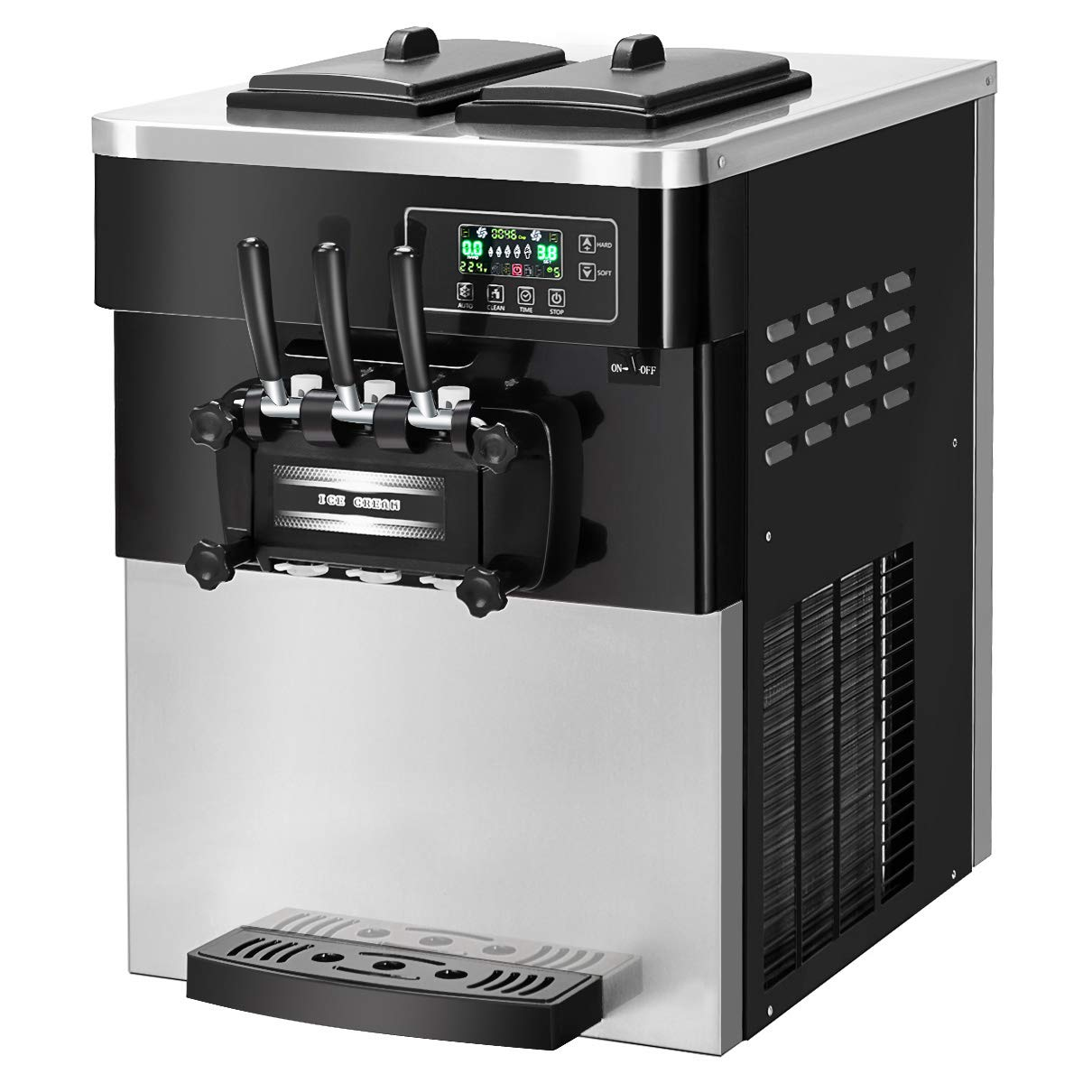 COSTWAY Ice Cream Machine Commercial Automatic 2200W 20-28L/5.3-7.4Gallon Per Hour Soft & Hard Serve Ice Cream Maker with LCD Display Screen, Auto Shut-Off Timer, 3 Flavors