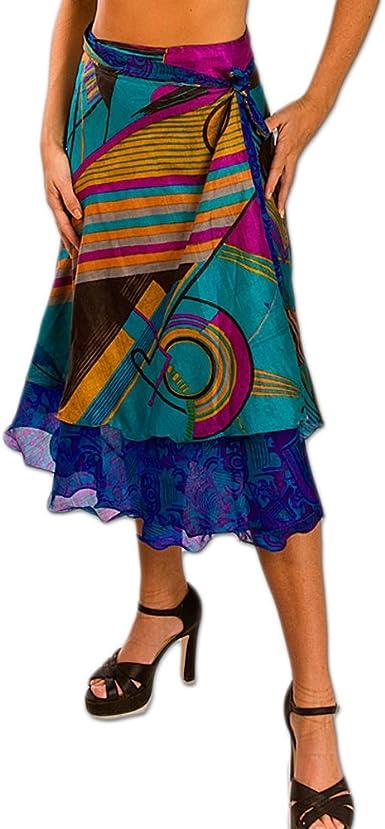Beutiful floral print silk sari skirt Reversible magic wrap skirt Two layer skirt sari wrap skirt 65