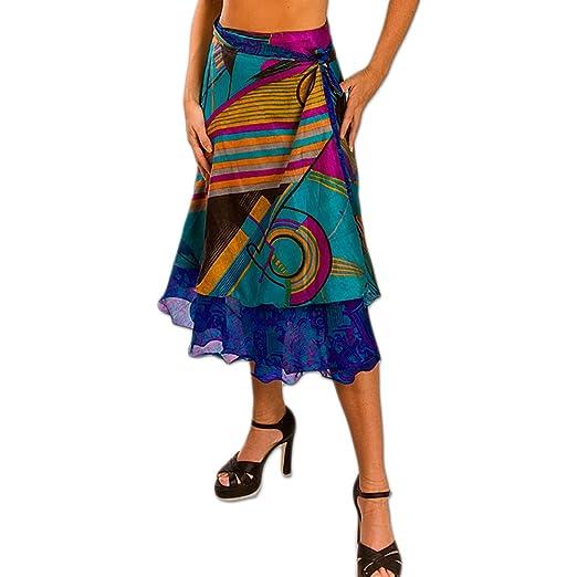 836b3d35d Womens Magic Wrap Vintage Reversible Boho Long Silk Dress Sari Rayon ...