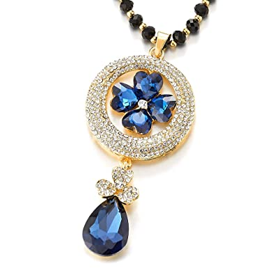 iMECTALII Rhinestone Blue Crystal Cluster Circle Flower Teardrop Pendant Long Beads Chain Statement Necklace