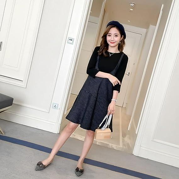 HZFF Las mujeres embarazadas en otoño, Coreano vestido, camiseta de tirantes, rayas, faldas, dos conjuntos de flojo, delgada, madre de marea, vestimenta, ...