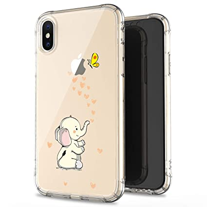e9ca530eaf365 JAHOLAN Compatible iPhone Xs Max Case Clear Cute Amusing Whimsical Design  Beige Cute Elephant Flexible Bumper TPU Soft Rubber Silicone Cover Phone ...