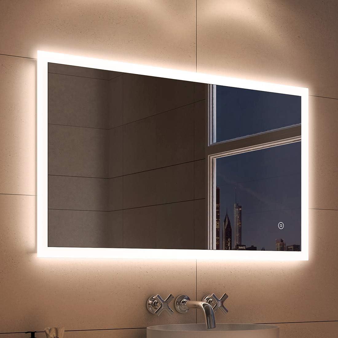Specchio da bagno a LED luce bianca calda classe di efficienza energetica A++ Duschdeluxe con illuminazione