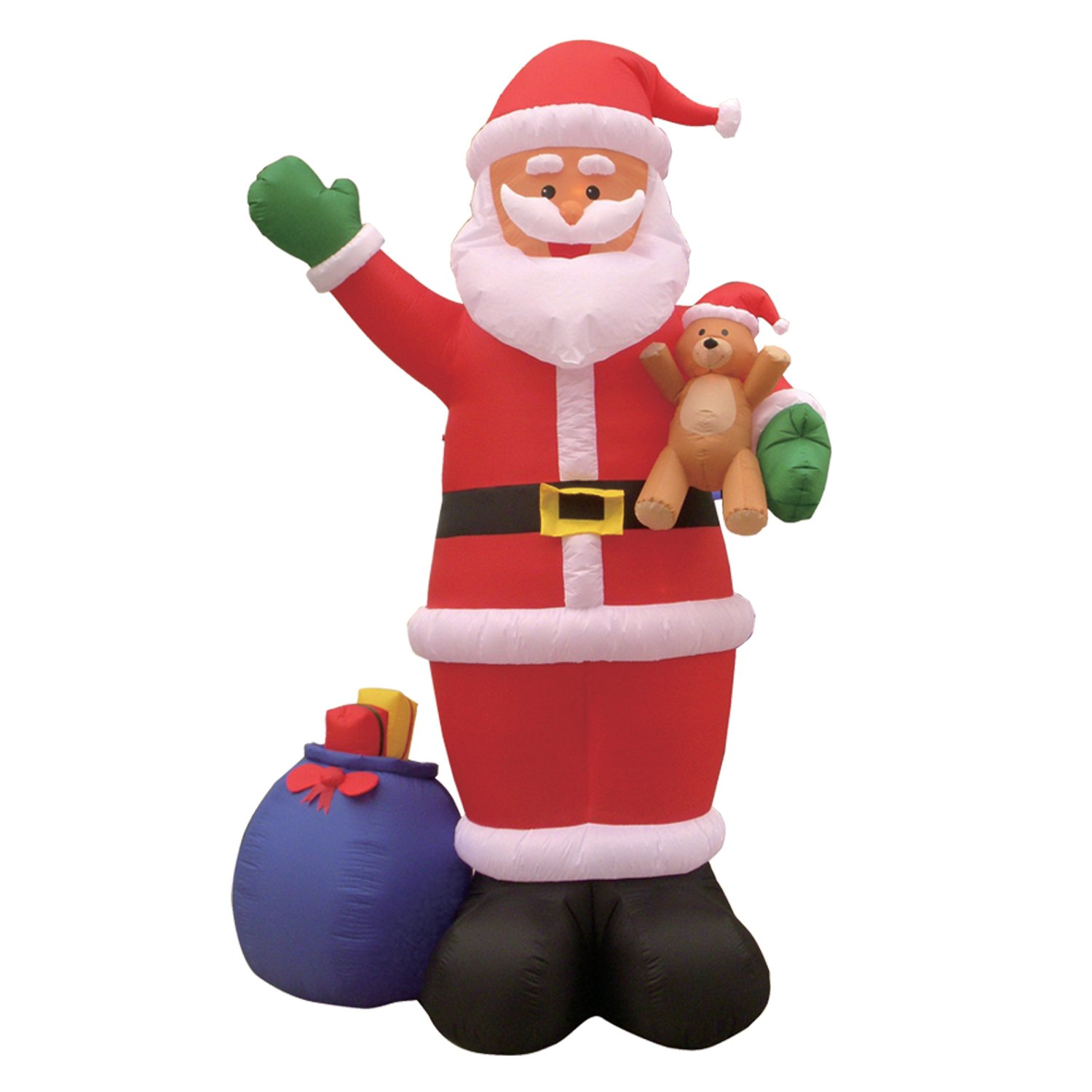 12 Foot Christmas Inflatable Santa Claus with Gift Bag and Bear Yard Garden Decoration by BZB Goods
