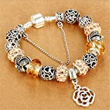 Best Romantic Time Friends Owl Necklaces - Snake Chain Charm Bracelet With Flower Rose Dangle Review