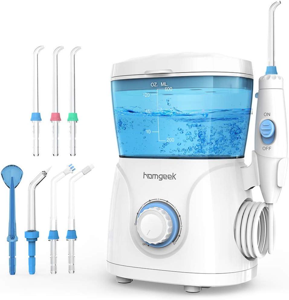 Homgeek Irrigador Bucal, Irrigador Dental Profesional con 7 Boquillas Multifuncionales 10 Ajustes de Presión 600ml, Efectivamente Limpia los Dientes y Protege la Salud Bucal de Toda la Familia