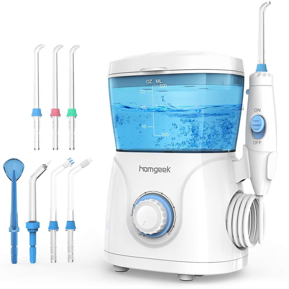 Homgeek Upgrade Water Flosser,Oral Irrigator,Water Pick,Dental Water Flosser,Anti Leakage Water Pick Teeth Cleaner Dental Water Toothpick 10 Adjustable Pressure with 7 Multifunctional Tips-FDA Listed