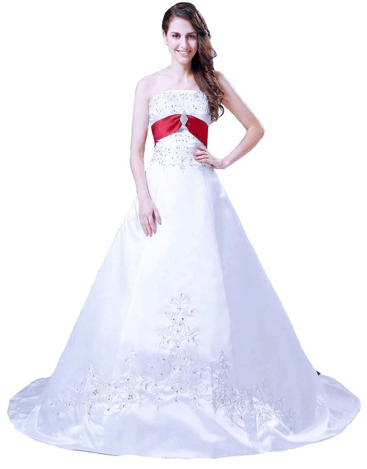 Snowskite Women's Strapless A-line Satin Embroidery Beaded Wedding Dress White&Red 16