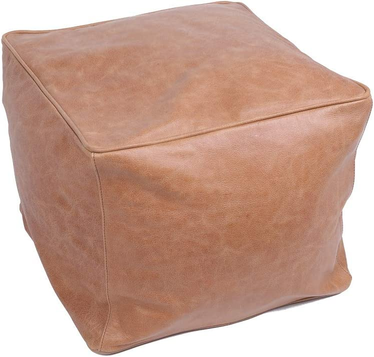 """LEATHEROOZE Handmade Unstuffed Leather Moroccan Pouf Seat Boho Ottoman 14x18x18"""" Living Room Bedroom TV Room/A Square (Brown)"""