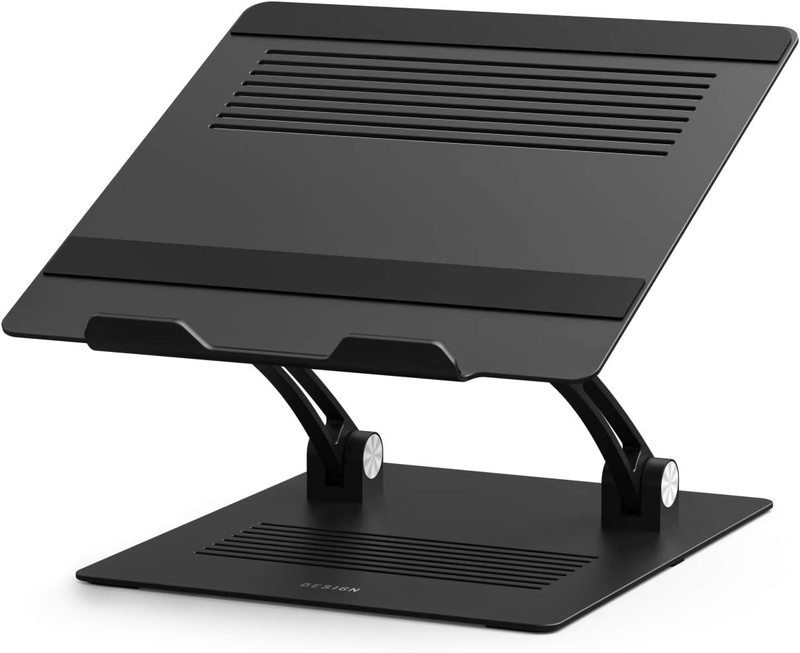 "Besign LS09 Aluminum Laptop Stand, Ergonomic Adjustable Notebook Stand, Riser Holder Computer Stand Compatible with MacBook Air Pro, Dell, HP, Lenovo More 10-15.6"" Laptops, Black"