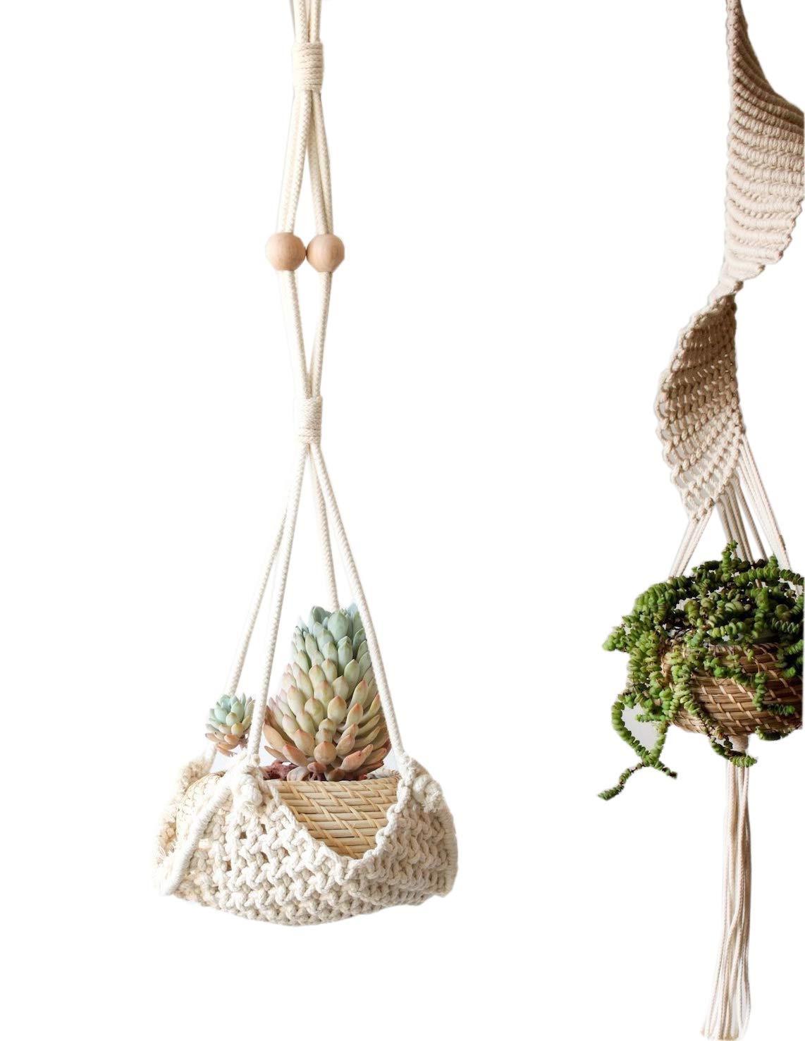 Macrame Hanging Planter Home Décor Cotton Rope Handwoven,37''L
