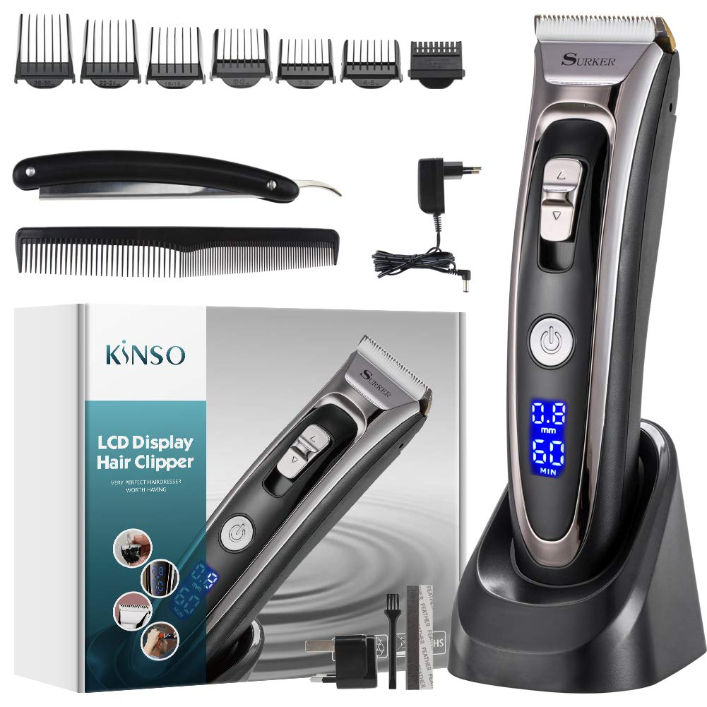 Cortapelos, KINSO Profesional Kit de corte de pelo sin cable para hombres y bebés con pantalla LCD de doble pantalla Guía de batería de larga duración Peines Cepillo de limpieza y Navaja de afeitar